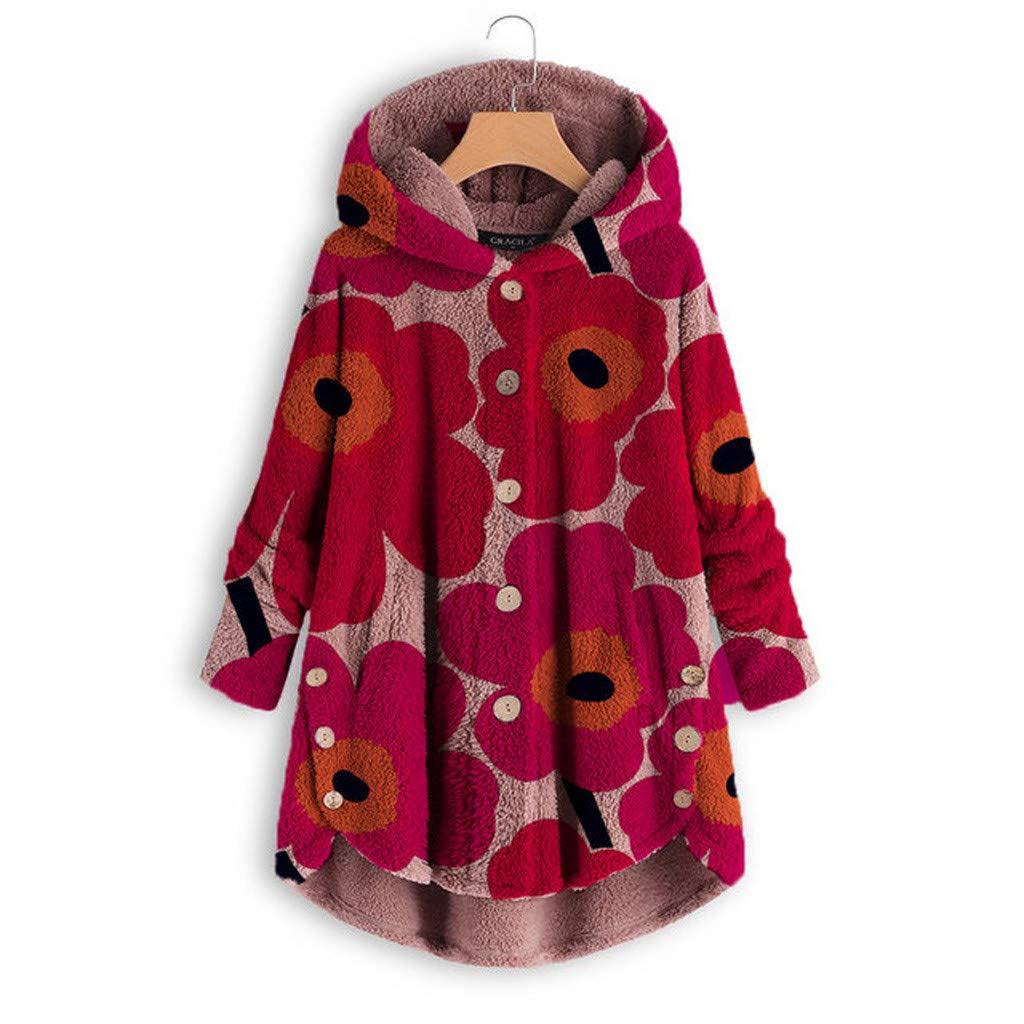 Pandaie Woemns Fluffy Fleece Jacket Hooded Coat Flowers Buttons Hoodie Pullover Winter Plush Sweatshirt Jackets Red by Pandaie