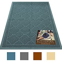 Kittycentric Jumbo (47.5 x 36 in) Cat Litter Box Mat with Scatter Control by Cornflower Blue