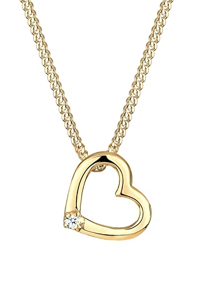 DIAMORE Women's Necklace Heart 925 Sterling Silver Diamond White 0.02ct hJjvqvQn