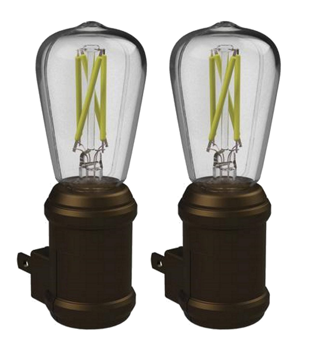 Westek Vintage LED Bulb Night Light - Pack of 2 Edison Filament Old-Fashioned Design Nightlights - Auto Dusk-Dawn Sensor, Outlet Plug-in, Energy Efficient, 25,000 Hours, 8 Lumens – Aged Bronze Finish