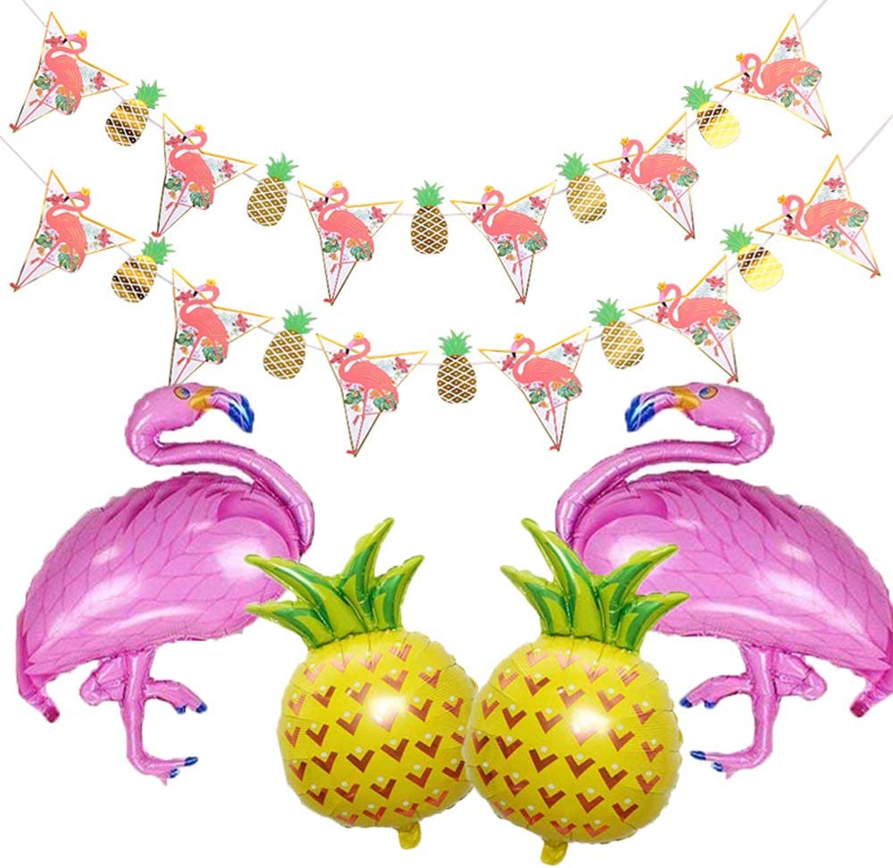 Beach Summer Tropical Party Theme Flamingo Balloons Pineapple Mylar Balloons Flamingo Pineapple Banners Party Decorations for Luau Party Hawaiian Flamingo Party Supplies