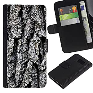 All Phone Most Case / Oferta Especial Cáscara Funda de cuero Monedero Cubierta de proteccion Caso / Wallet Case for Samsung Galaxy S6 // Tree Crust Grey Brown Nature Forest Art