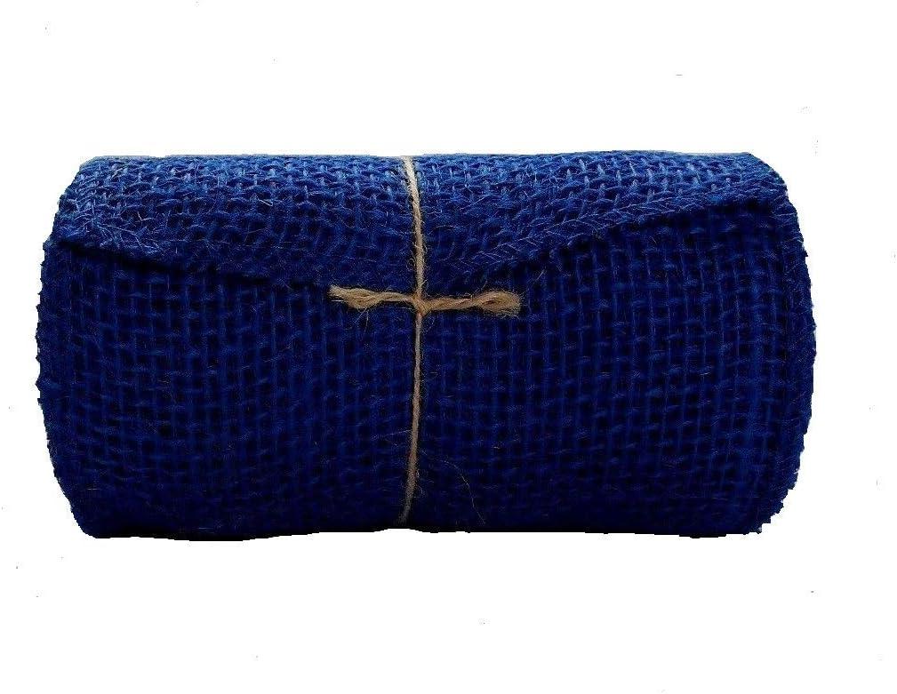 "2.5/"" x 15/' Green Blue Yellow Stripe Burlap Ribbon Spool 100/% Jute"