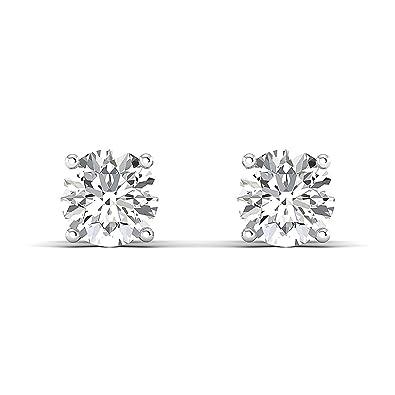 1477bbca6 Amazon.com: Round Moissanite Diamond Screw Back Earrings For Women, GH  Color, Clarity VVS: Jewelry