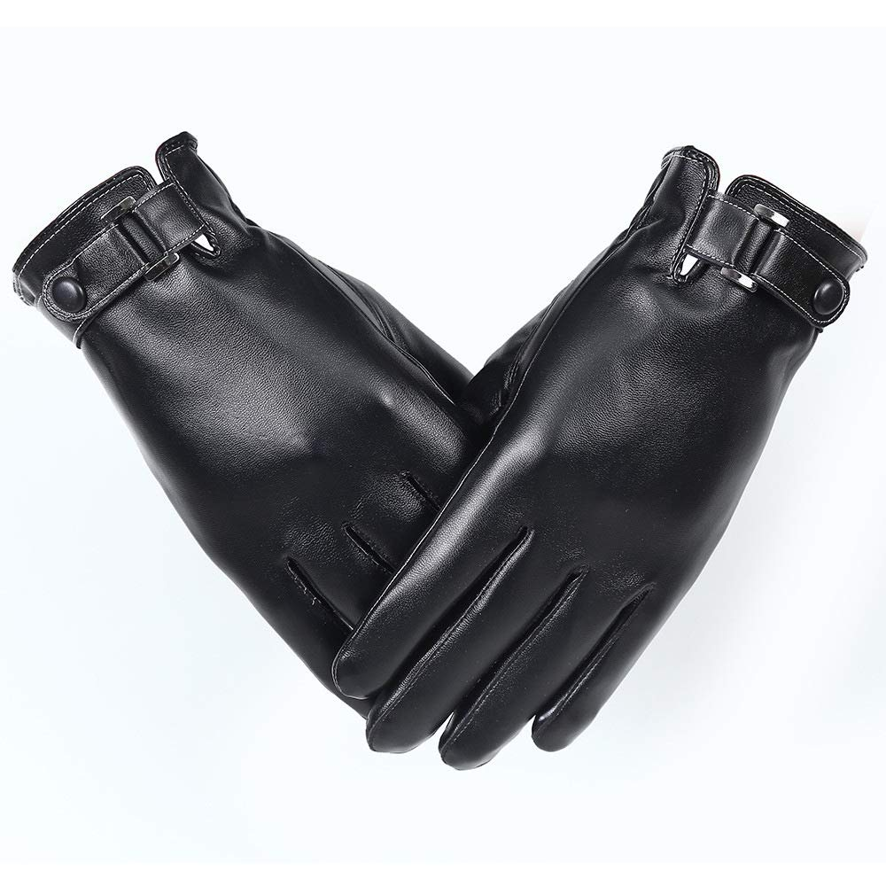 Quelife Leather Gloves Mens Winter Windproof Waterproof Cycling Motorcycle Non-Slip Thick Warm Touch Screen Gloves
