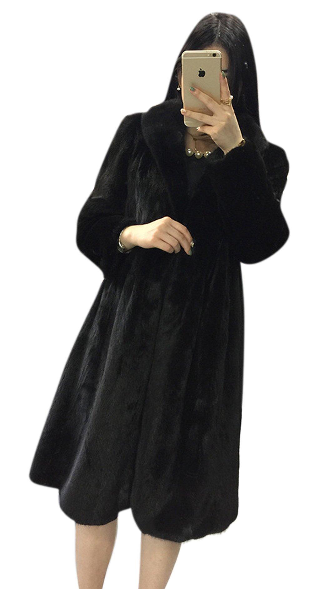 AZIZY Women's Black Luxury Faux Mink Fur Slim Lapel Long Sleeve Thick Warm Maxi Coat 2XL by AZIZY