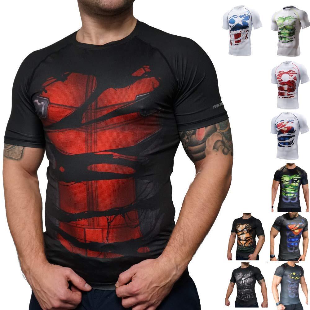 e5957890eb9 Khroom Camiseta de Compresión de Superhéroe para Hombre Ropa Deportiva de  Secado Rápido para Ejercicio