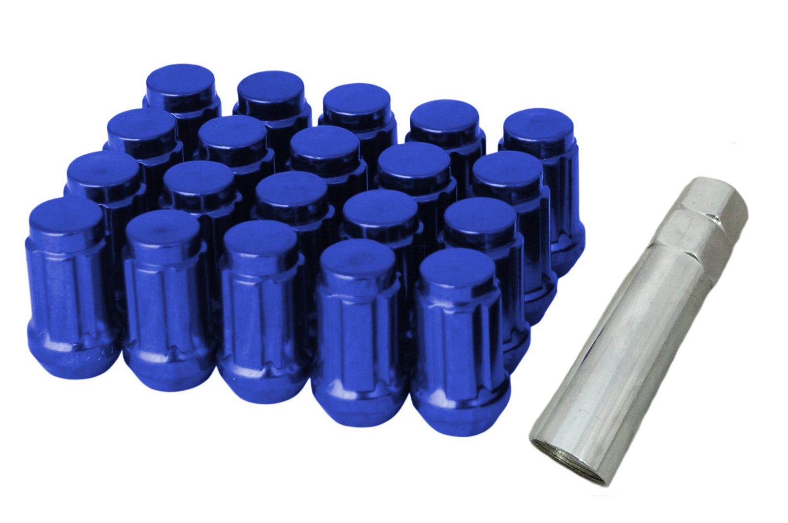 RPC CPR Close Ended Steel Wheel Lug Nuts 7 Sides 20Pcs With Key M12X1.25 White