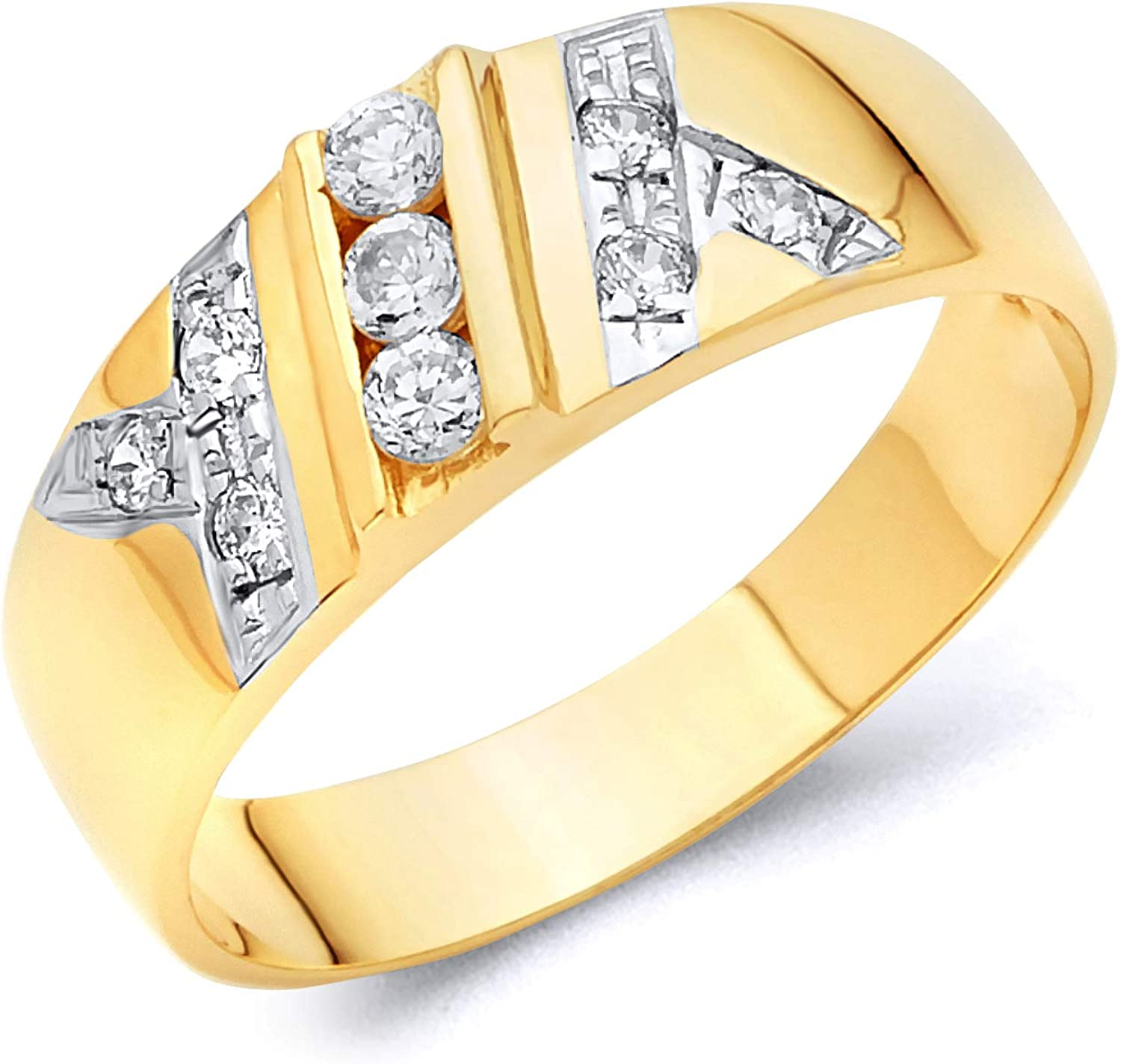 Jewel Tie Solid 14k Yellow Gold Cubic Zirconia CZ Mens 3 Stone Fashion Ring OR Wedding Ring Band Size 8