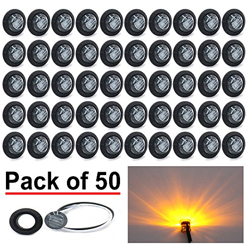 - (Pack of 50) Madcatz Amber Light (Smoked Lens) 3/4 inch Bullet Side Led Marker Trailer lights Clearance Indicator 12V DC