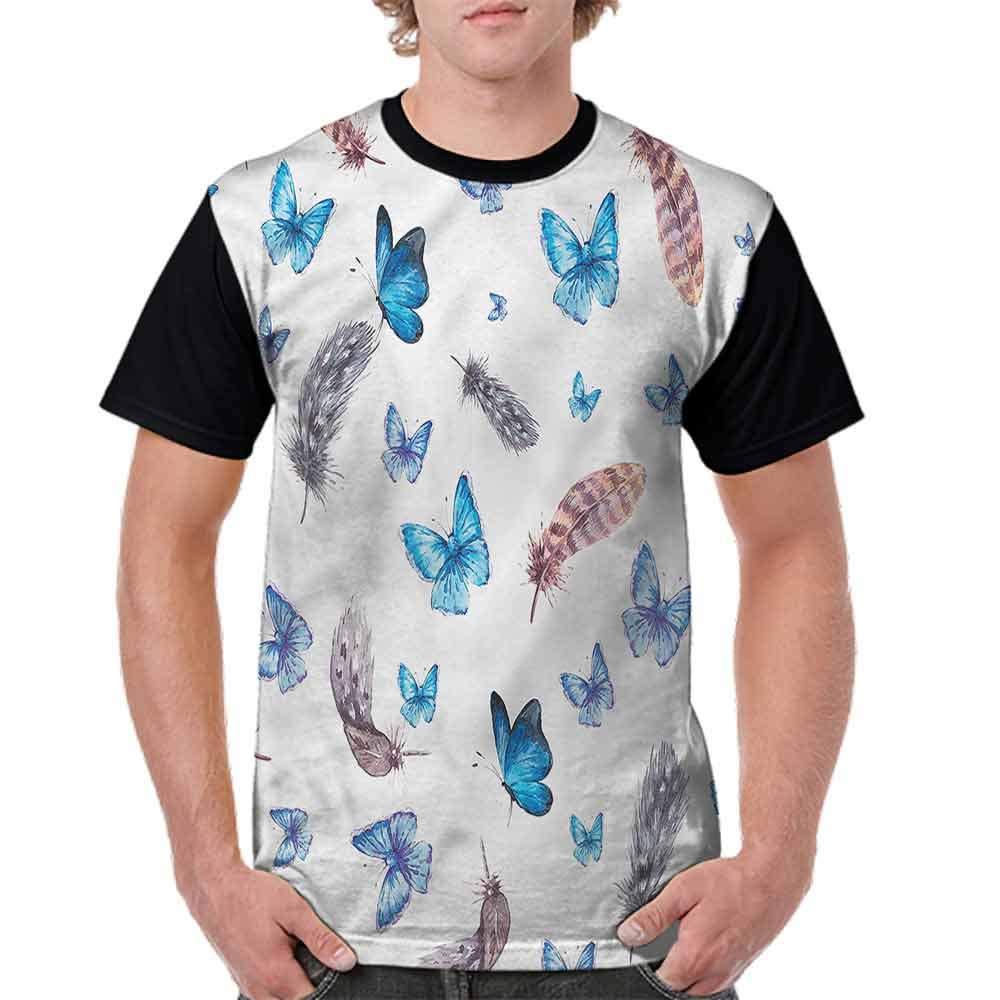 Round Neck T-Shirt,Feathers and Butterfly Fashion Personality Customization