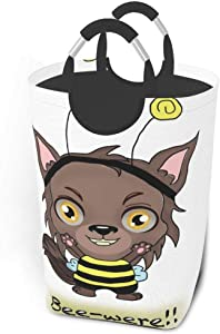 Collapsible Laundry Baskets Animal Bee Were Wolf Halloween Large Dirty Laundry Hamper Colapsable Collaspable Calaspable Fold Dorm Fabric Laundry Basket For Baby Girl Kids Sock Clothes Camp Travel