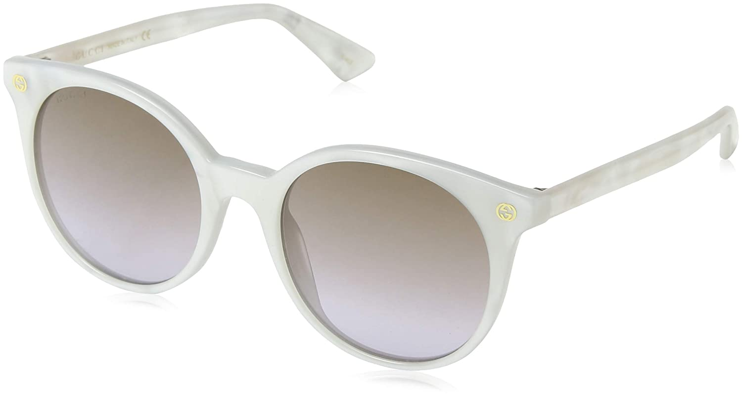 ce108e18be5 Amazon.com  Gucci GG0091S Sunglasses 004 White   Brown Gradient Lens 52 mm   Clothing