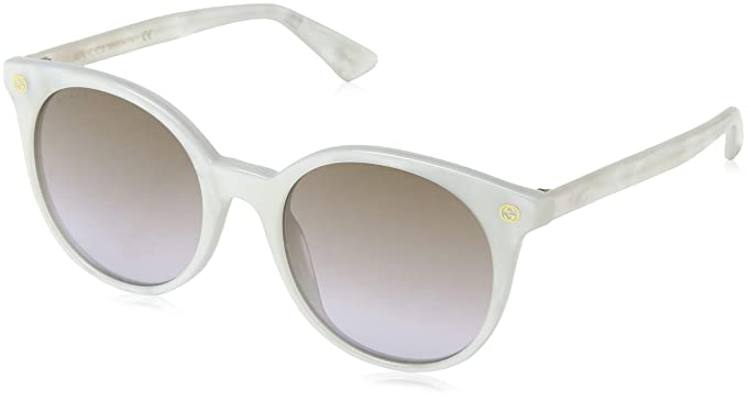 69d6e74c2e Amazon.com  Gucci GG0091S Sunglasses 004 White   Brown Gradient Lens ...