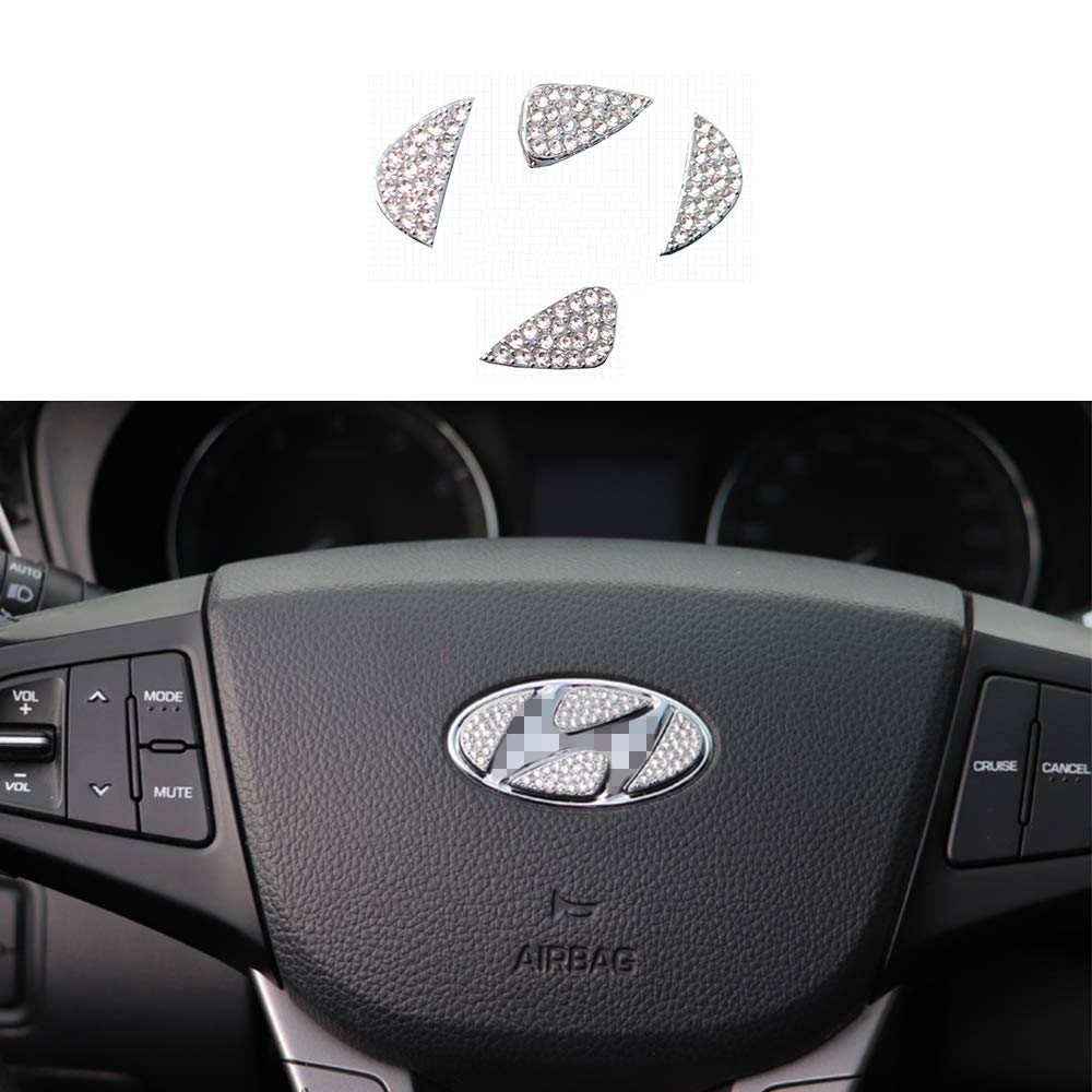 TopDall Steering Wheel Bling Crystal Shiny Diamond Accessory Interior Sticker for Hyundai