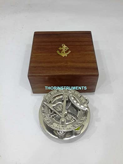 Nautical Reproduction Brass Sundial Compass Marine Working Compass with Compass
