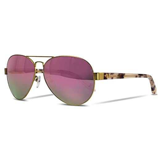 Orange Hudson Sunglasses Aviator Matte Gold Metal Frame with Pink Crystal Acetate Legs, Rose Gold Mirror Lenses 100% UV Block - Versailles Sky