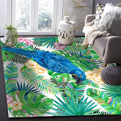 OUR WINGS Modern Area Rug,Tropical Rainforest Plant Palm Leaves Parrot 2.6 Feet by 5 Feet Indoor Area Rugs Living Room Carpets for Home Decor Bedroom Nursery Rugs