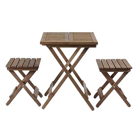 Amazon.com: CSQ Mesa y silla plegables de madera maciza ...