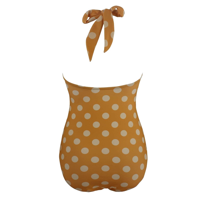 Laorchid Damen Badeanzug Gepunktet Tankini Polka Dots Einteiler bauchweg Push Up Bademode b/ügellos