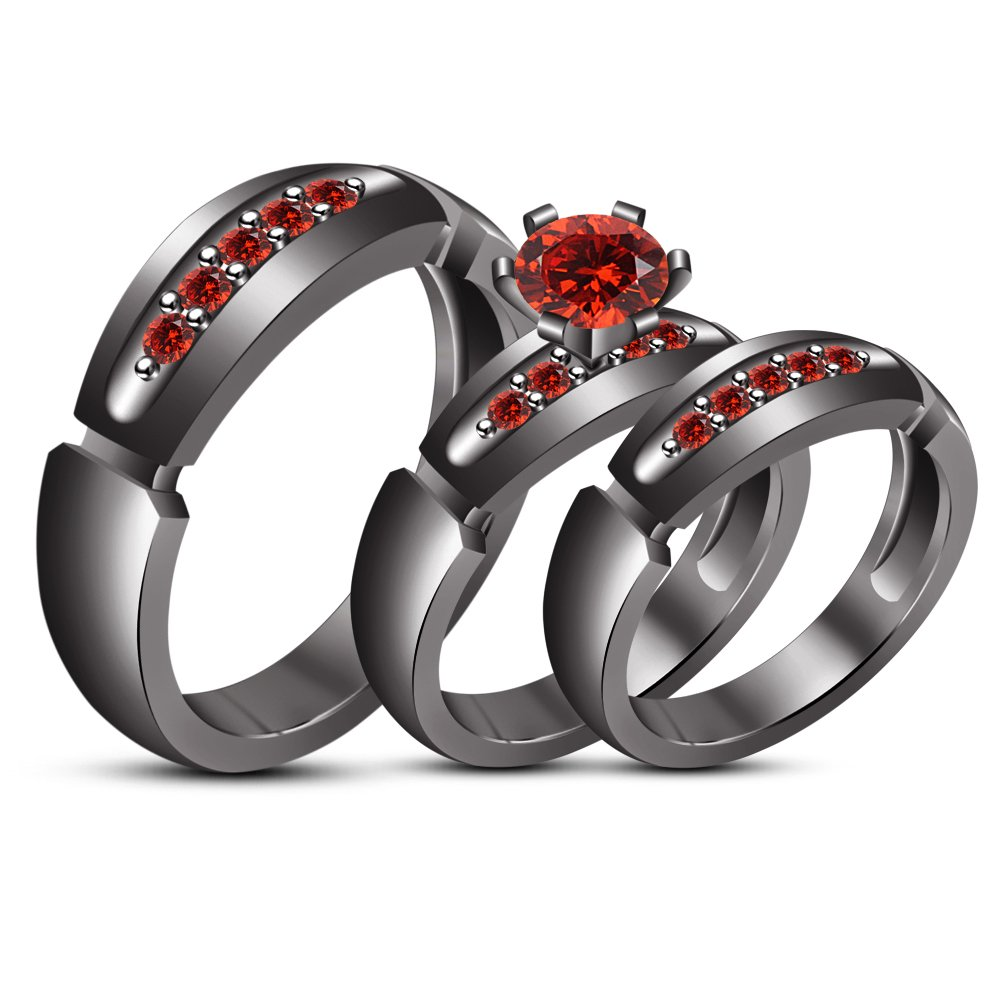 TVS-JEWELS Round Cut Created Gemstone Tiro Wedding Ring Set Black Rhodium Plated Sterling Silver (red garnet)