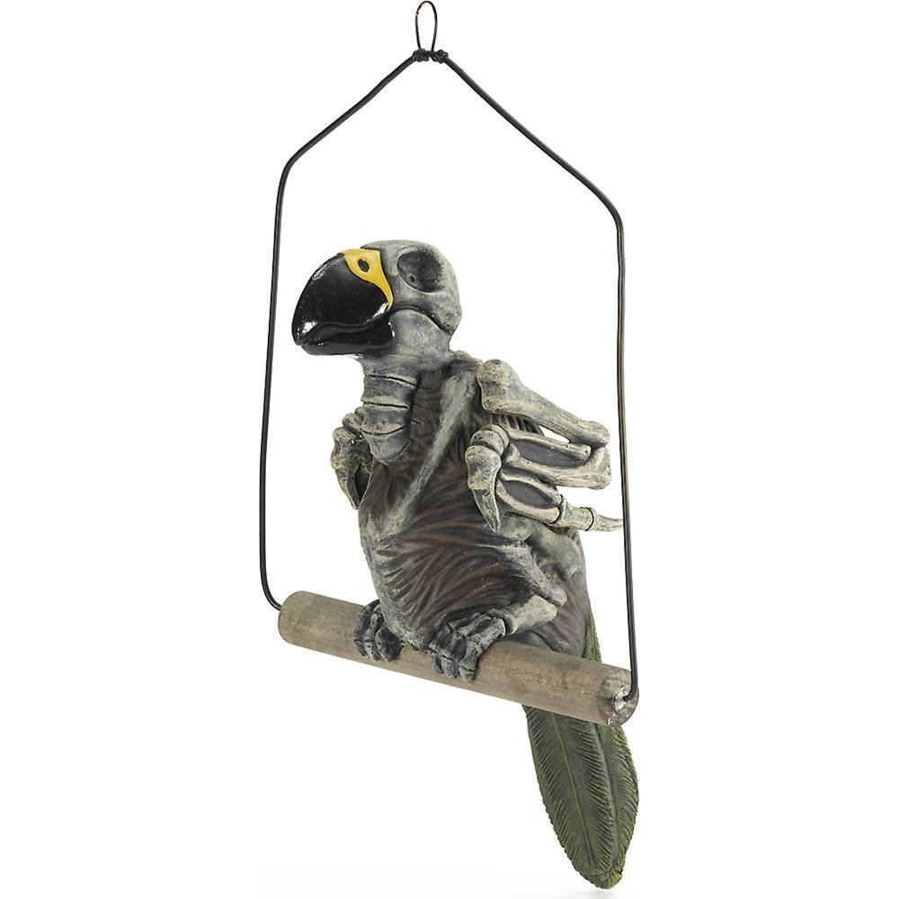 Haunted Skeleton Parrot on Perch Prop