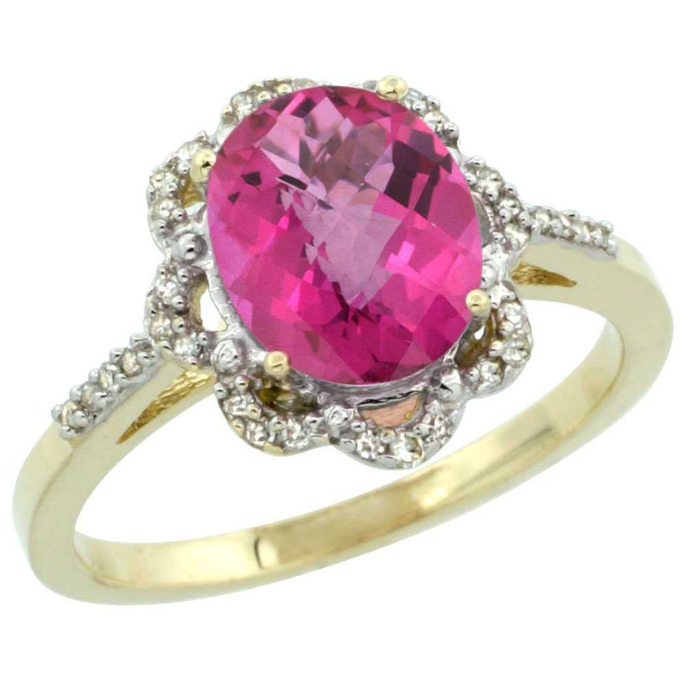 10K Yellow Gold Diamond Halo Natural Pink Topaz Engagement Ring Oval ...