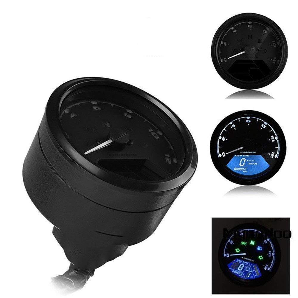 KESOTO LCD Tachometer Motorrad Drehzahlmesser f/ür Motorrad und die Meisten ATVs