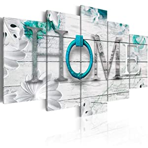 "Dreamy Home 5 Panels Turquoise Canvas Print Painting Modern Wall Art Decoration 40"" W x 20"" H"