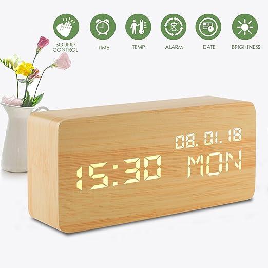 Despertador Digital, Reloj con Alarma Niños de Madera 3 Nivel Led ...