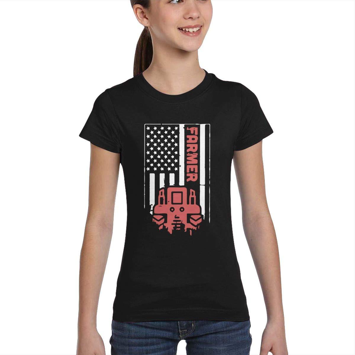 XS-XL L6Nv4o@A Girls Short Sleeve Tractor /& American Flag Shirts Casual Tunic Shirt Dress