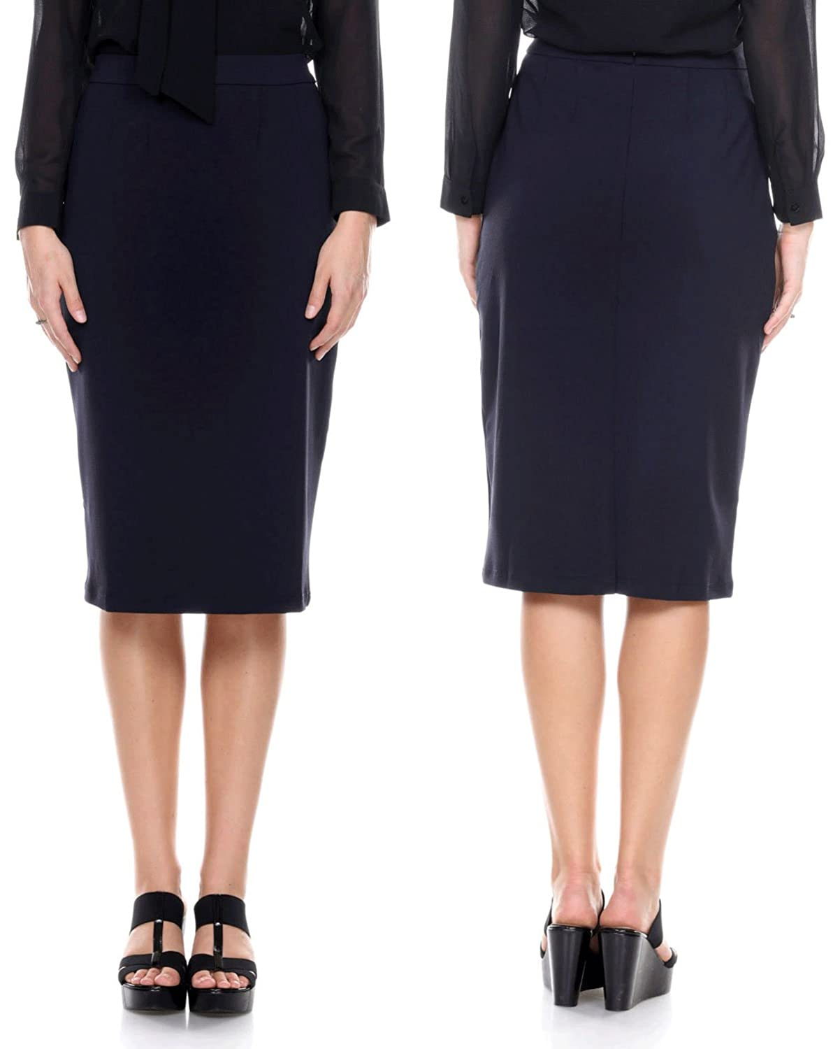96803d430 Women's Solid High Waisted Below the Knee Length Pencil Skirt for Office  Wear, Navy, Small at Amazon Women's Clothing store:
