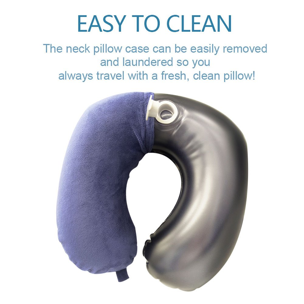 Travel Pillow, Disifen Inflatable Neck Pillow, Comfy & Compact, Neck/Back/Seat Cushion Portable Travel Set for Airplane Bus Office(Dark Blue)