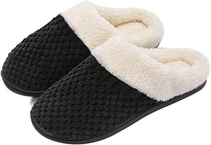 Women's Comfort Coral Fleece Memory Foam Slippers Fuzzy Plush Lining Slip on Clog House Shoes for Indoor & Outdoor Use