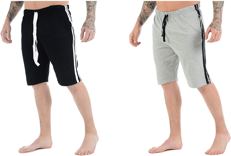 Stylo Online Mens Lounge Shorts Nightwear Soft Jersey Elasticated Waist Bottoms Poly Cotton Pyjama Pjs Joggers Sleep Wear Casual Gym Lightweight Pants Sizes S-2XL