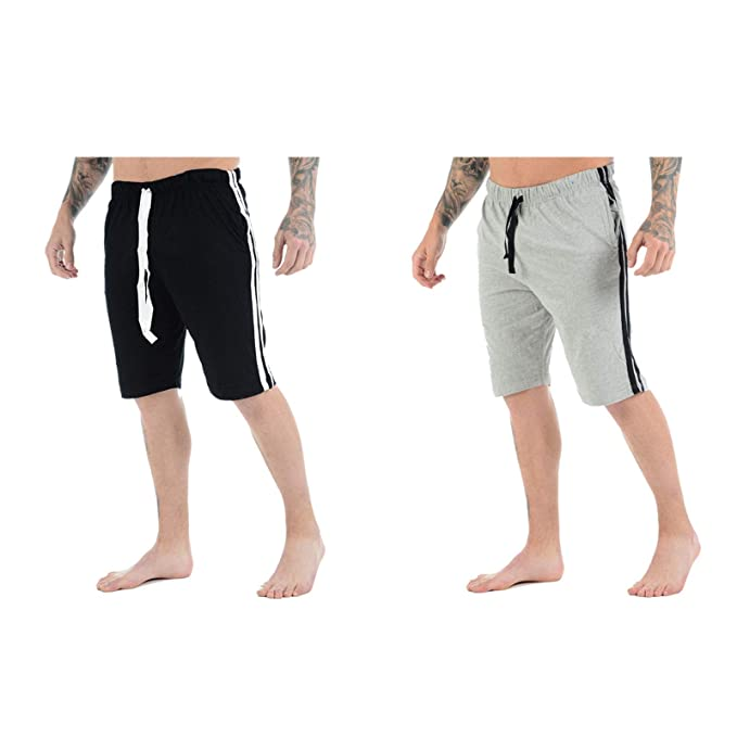 MENS LOUNGE SHORTS JERSEY COTTON LOUNGE WEAR PYJAMA SHORTS
