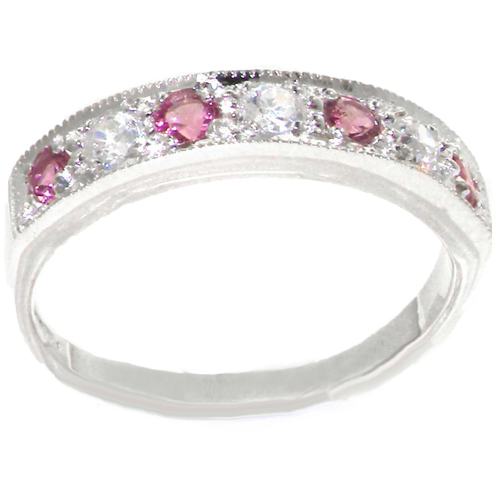 925 Sterling Silver Cubic Zirconia and Natural Pink Tourmaline Womens Band Ring -Sizes 4 to 12 LetsBuyGold Jewelers L1338/54/5P-SS