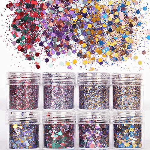 COKOHAPPY 8 Boxes Multi Color Chunky Glitter Makeup, Holographic Flake Cosmetic Sequins Glitter, Ultra-thin Nail Art Iridescent Sparkle Mixed Glitter for Face Body Hair -