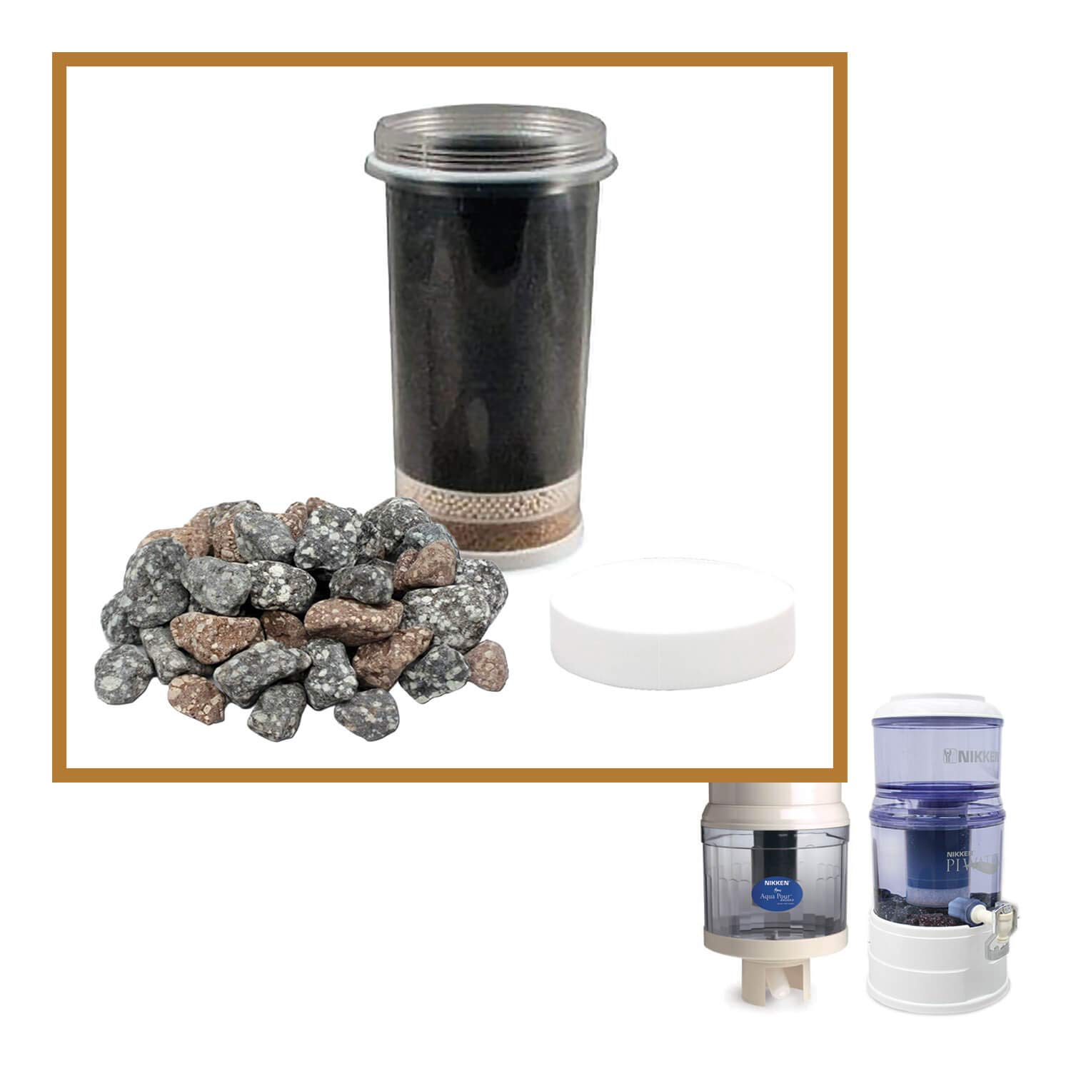 Nikken Aqua Pour 1 Filter Cartridge (1361) and 1 Micro Sponge Pre-Filter (1362) and 1 Mineral Stones (1386) - Advance Replacement for Gravity Water Filter Purifier System (1360) - PiMag Water System by Nikken