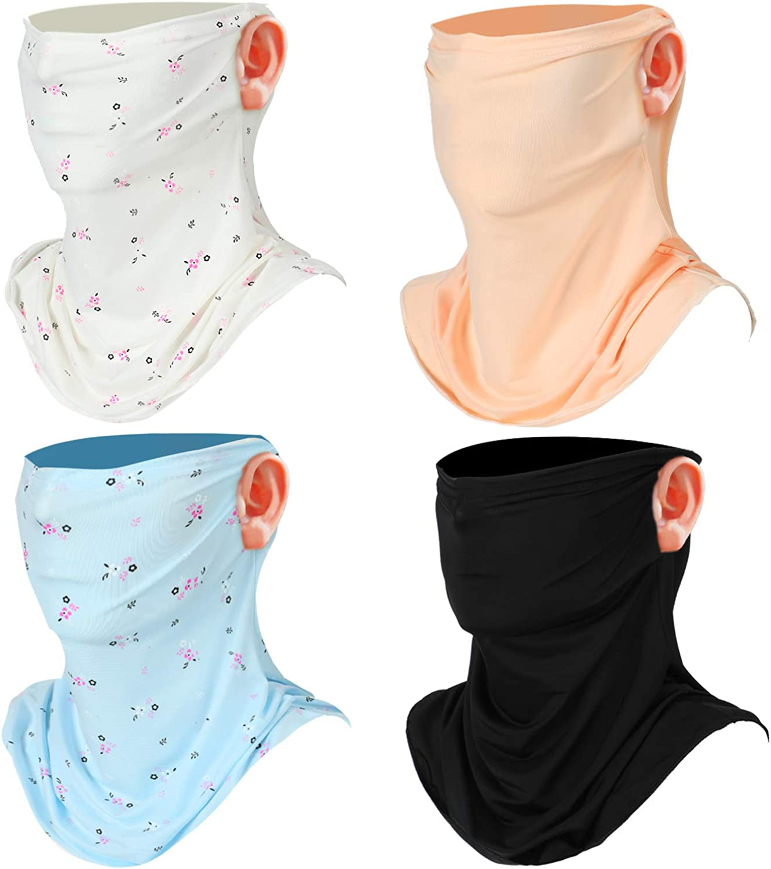 4 Pieces Sun Protection Face Scarf Women Face Neck Gaiters Breathable UV Protection Bandana (Floral White, Floral Blue, Black, Beige)