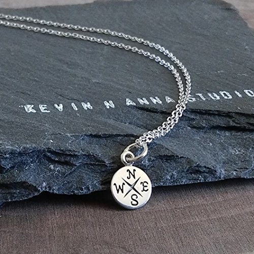 Sterling Silver Tiny Compass Charm Necklace