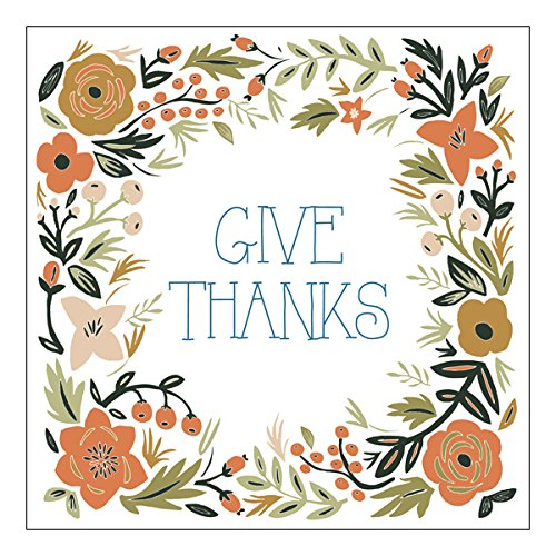Graphique Give Thanks Party Napkins - 20 Soft Triple-Ply Tissue Napkins With Floral Border Surrounding