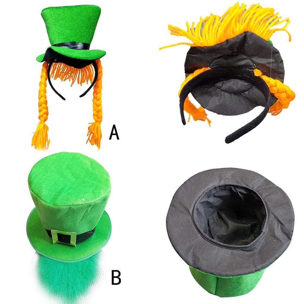 DEELIN DíA De San Patricio Verde IrlandéS Adulto Sombrero Verde Leprechaun Sombrero Superior Y Sombrero De Barba para Hombres Y Mujeres Sombrero Verde: ...