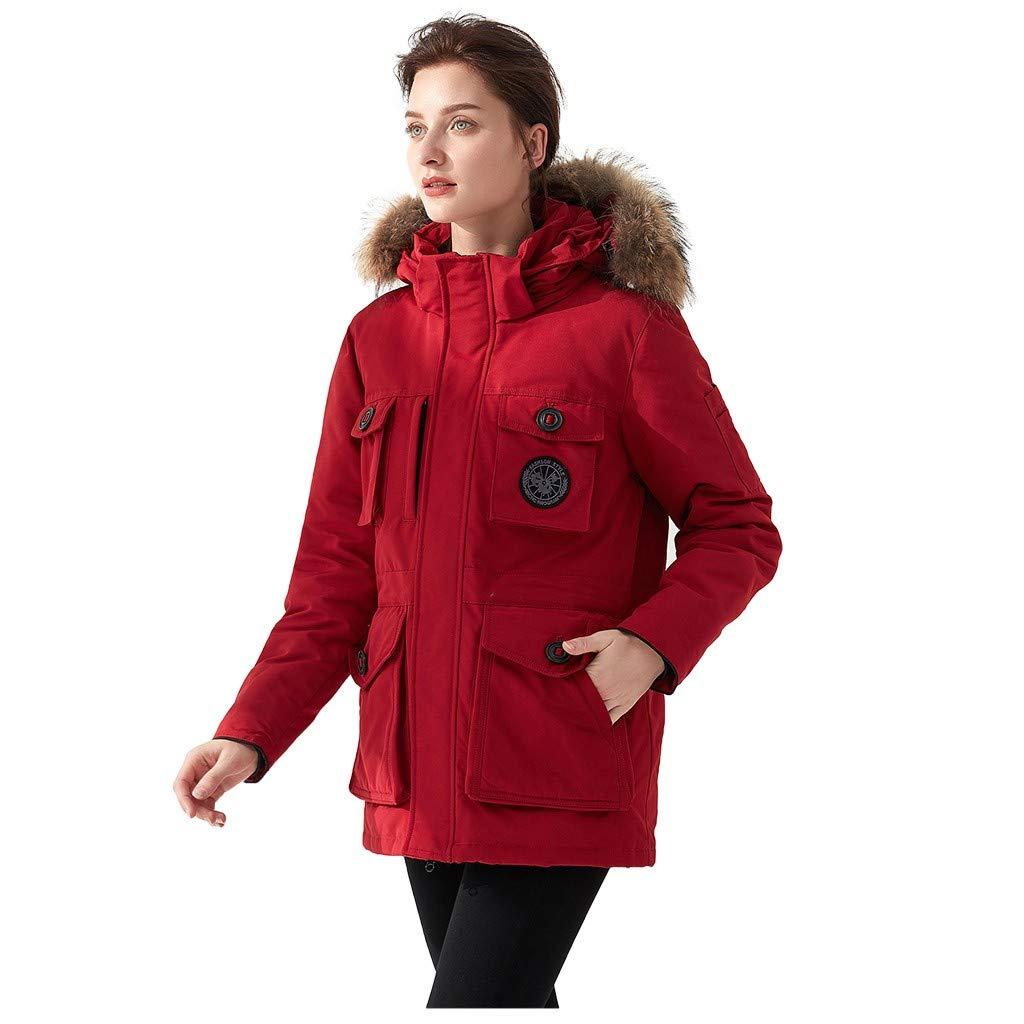 Dermanony Women's Down Coat Winter Warm Large Size Pockets Casual Down Jacket Faux Fur Collar Loose Thick Hooded Coat Red by Dermanony _Coat