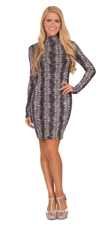 Womens Bodycon Formal Seamless Glitter Printed Turtleneck Long Sleeve Mini Dress