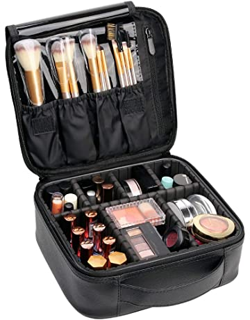 ebe470e45626bb VASKER Makeup Case Travel Cosmetic Bag Leather Organizer Bag with  Adjustable Divider Storage Case for Girl