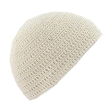 Storeonenet Pom Crochet Unisex Crochet Beanie Skull Hat Natural