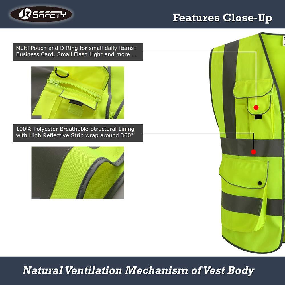 Unisexe Moyen JKSafety 9 poches de classe 2gilet de s/écurit/é haute visibilit/é devant avec des bandes r/éfl/échissantes Noir r/épond aux normes EN ISO 20471