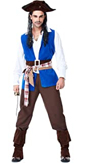 932371c35 Halloween Pirate Cosplay Men's Pirate Swashbuckler Costume Buccaneer Dress  Up & Role Play