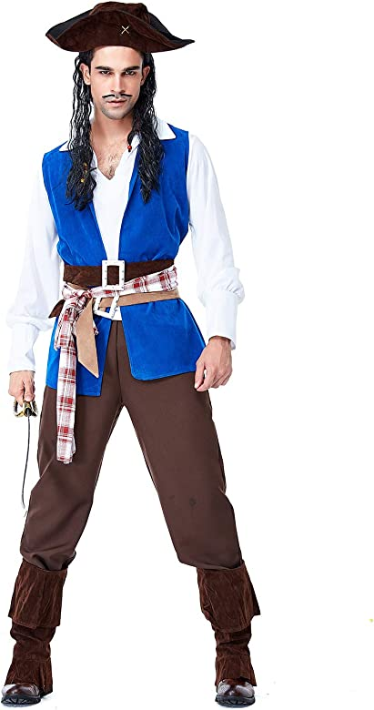 lancoszp Disfraz de Capitan Pirata de Halloween para Hombre, M ...